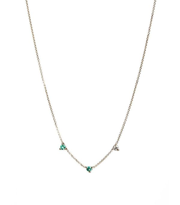 Wwake Counting Collection Three-Step Emerald & Diamond Necklace