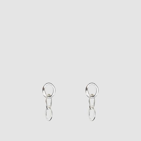 Oval Chain Earrings in Silver
