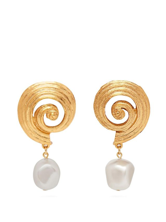Shell and faux-pearl earrings