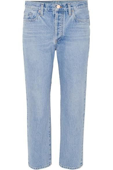 The Low Slung Cropped Mid-rise Straight-leg Jeans