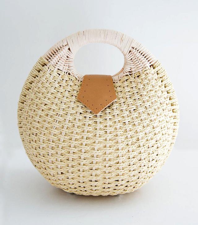 The Frankie Shop Round Straw Clutch Bag