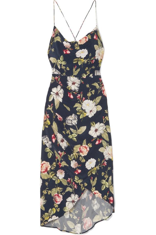 Reena Wrap-effect Floral-print Matte-satin Dress