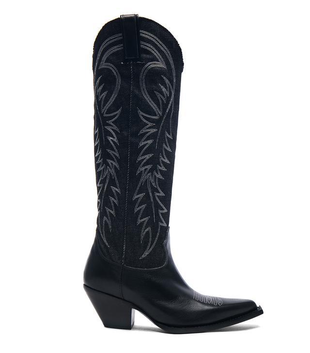R13 Denim Cowboy Mid Straight Cowboy Boots