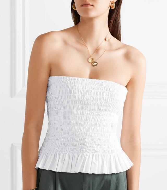 Shirred Cotton-poplin Bustier Top