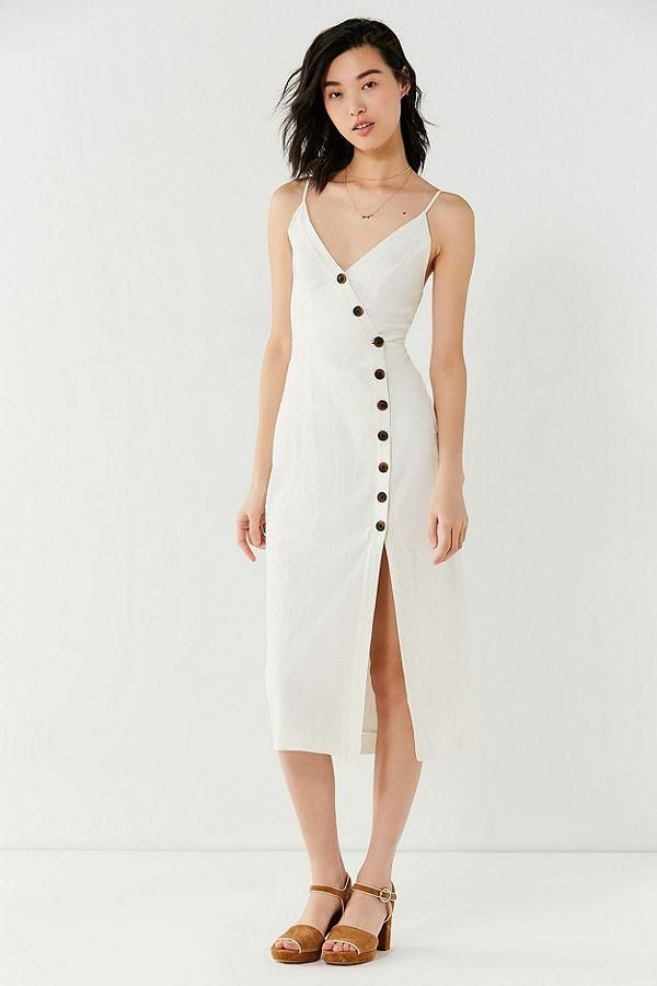 UO Amber Button-Down Linen Midi Dress