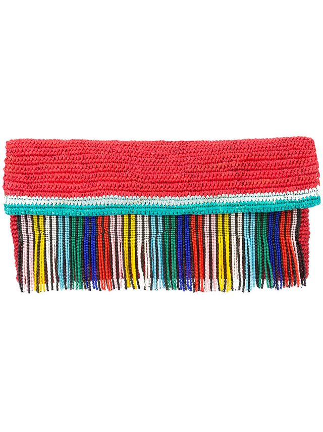 Sensi Studio Woven Clutch With Beaded Fringing