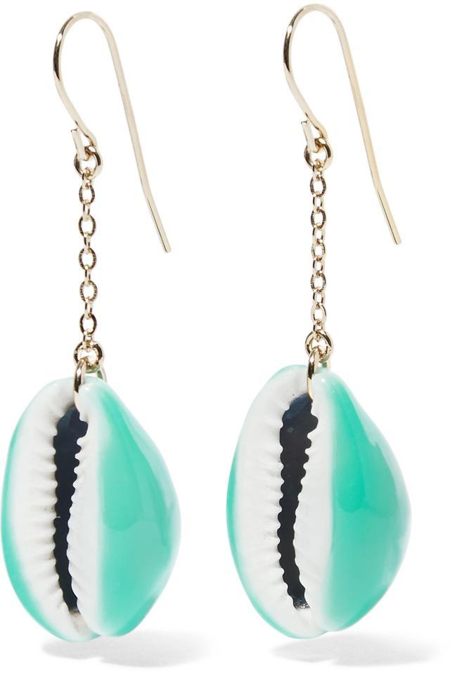Aurélie Bidermann Gold-Plated Shell and Enamel Earrings