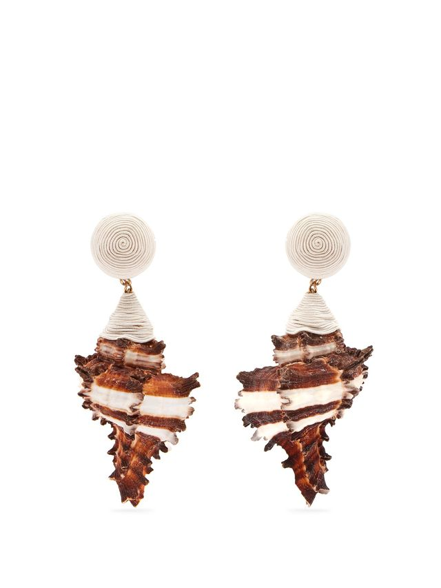 Rebecca de Ravenel Ophelia Shell and Gold-Plated Clip-On Earrings
