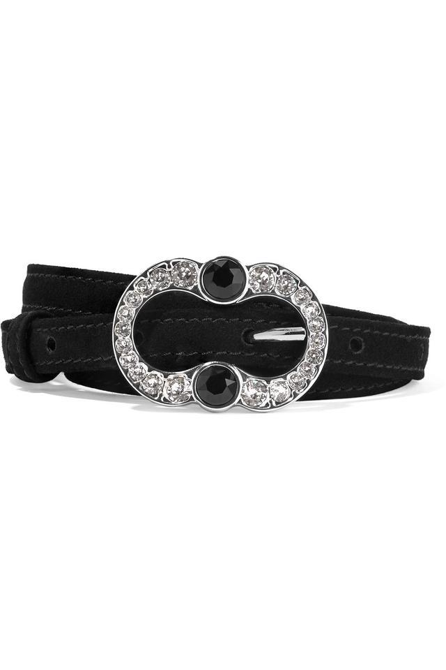 Prada Crystal Embellished Suede Belt