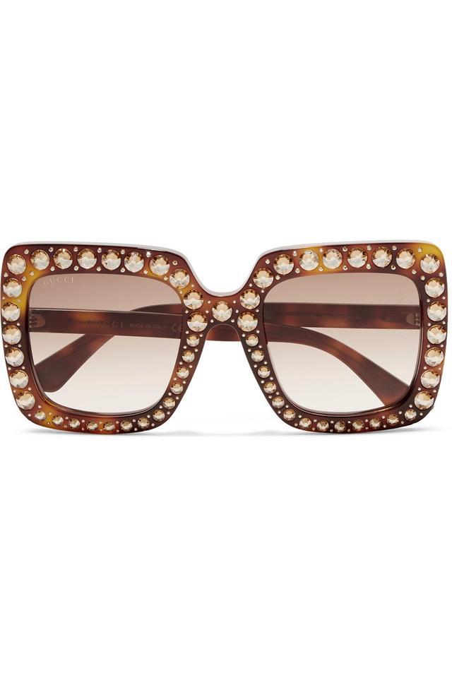 Gucci Oversized Crystal-Embellished Tortoiseshell Acetate Sunglasses