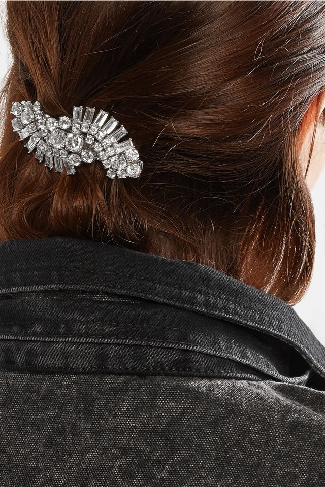 Kenneth Jay Lane Rhodium-Plated Cubic Zirconia Hairclip
