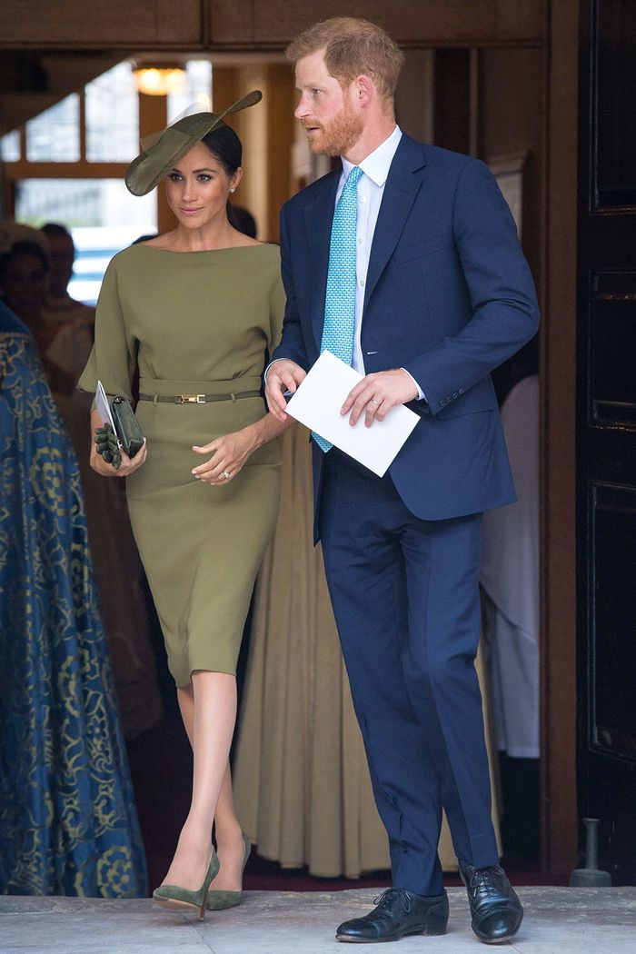 Meghan Markle at Prince-Louis's christening wearing Ralph Lauren dress
