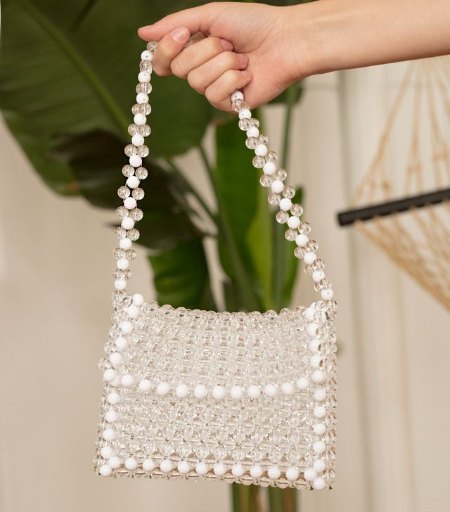 Pixie Market White Beaded Bag