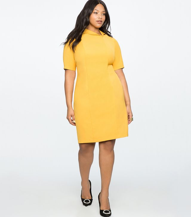 Eloquii Asymmetrical Collar Work Dress