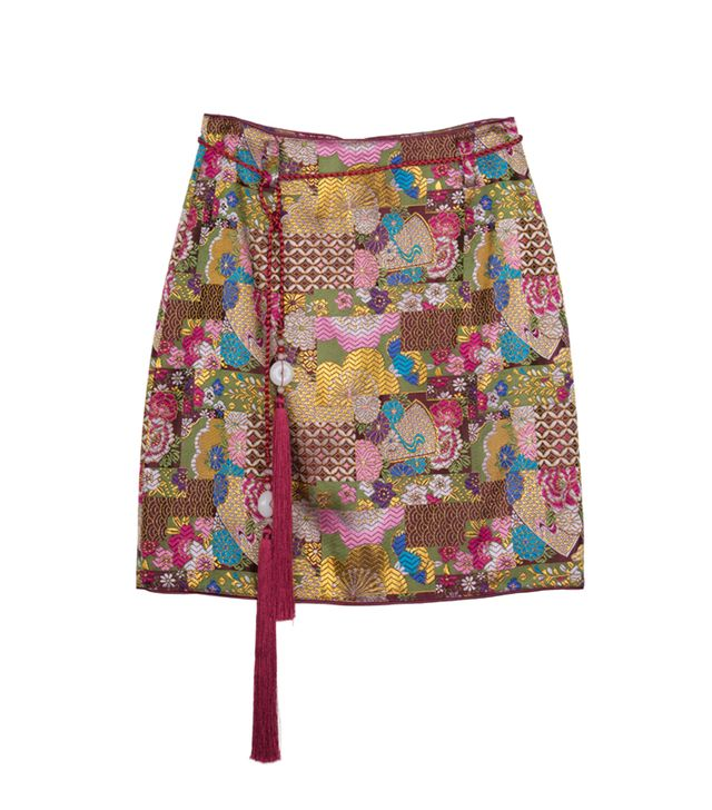 Front Row Shop Printed Satin Miniskirt