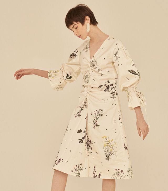 Front Row Shop Floral Print V Neck Shirred Midi Dress With Puff Long Sleeves