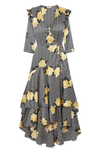 Asymmetric Tiered Silk-blend Wrap Dress