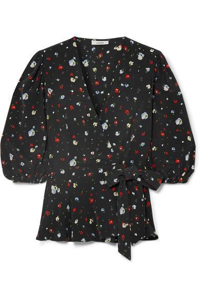 Nolana Floral-print Silk Wrap Top