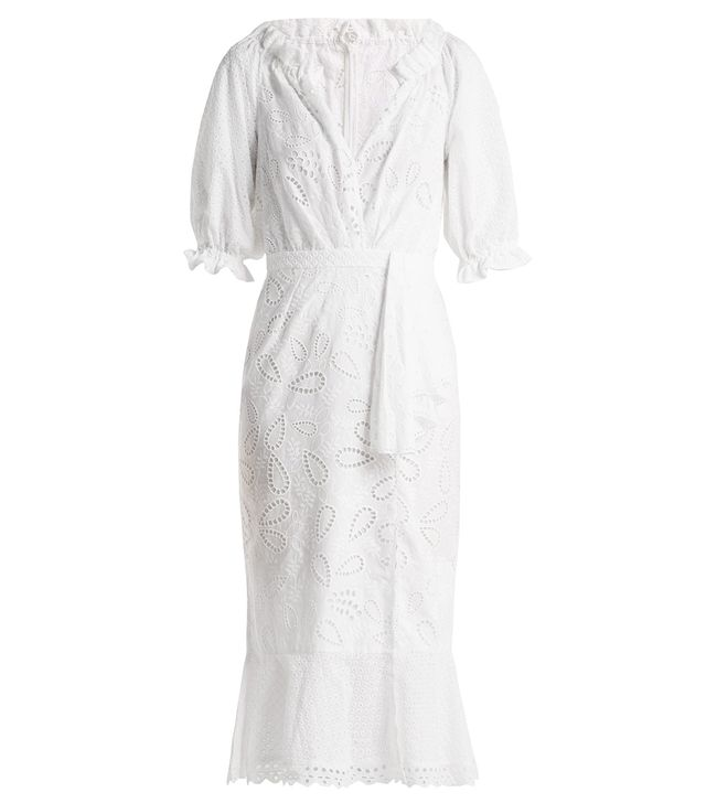 Olivia puff-sleeve cotton broderie-anglaise dress