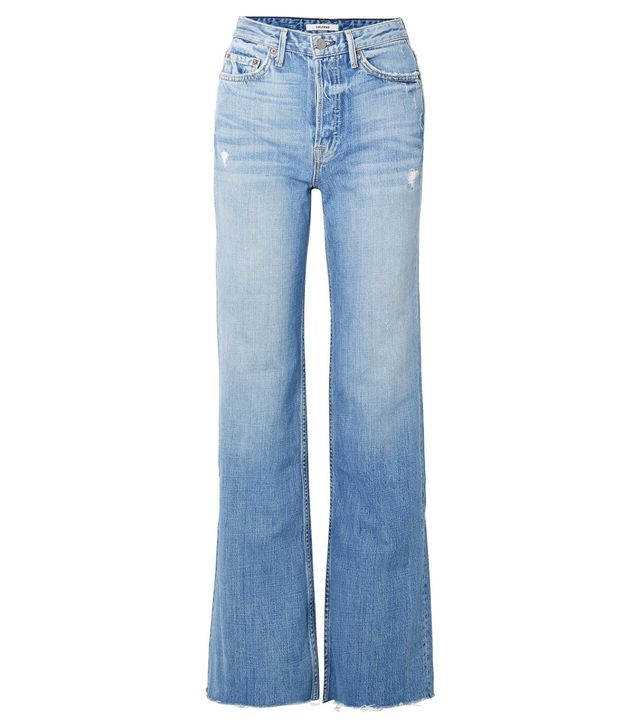 Carla Distressed High-rise Flared Jeans