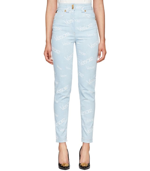 Versace Blue Logo Stamp High-Waisted Jeans