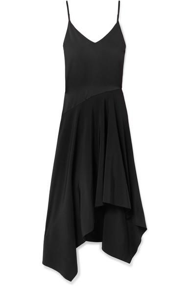 Leather-trimmed Asymmetric Silk-satin And Crepe Midi Dress