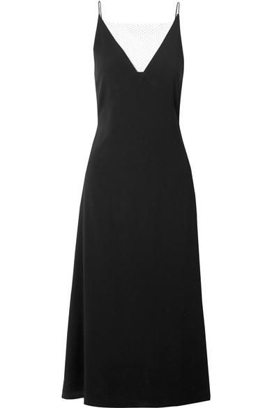 Mesh-trimmed Crepe Midi Dress