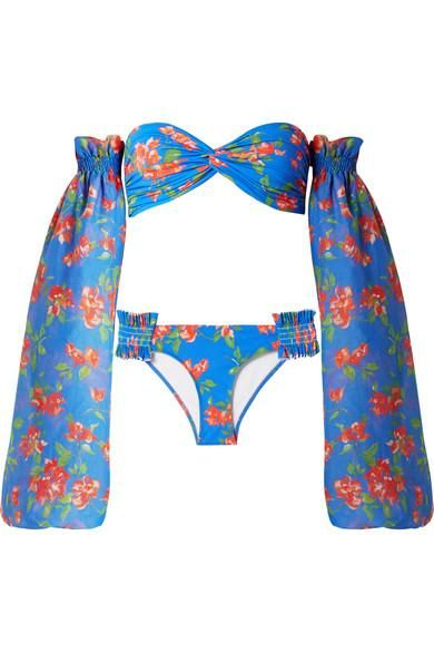 Andros Floral-print Bikini And Cotton And Silk-blend Voile Sleeves
