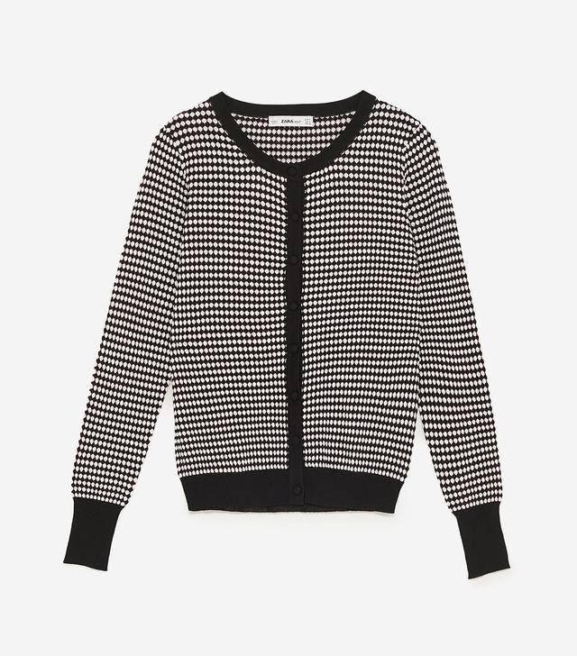 Zara Buttoned Jacquard Jacket