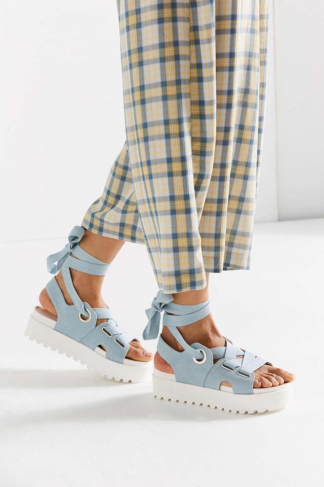 Denim Ribbon Lace-Up Platform Sandal