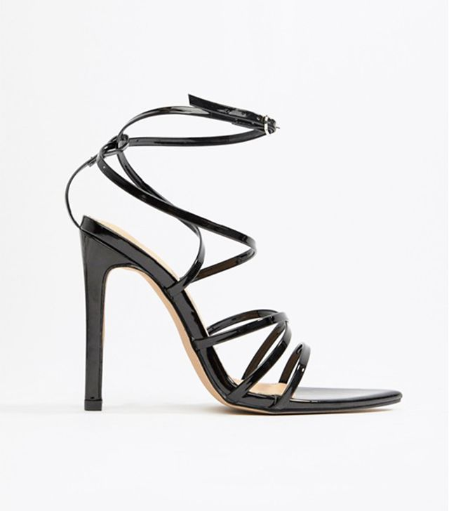 Sultry black patent strappy sandals