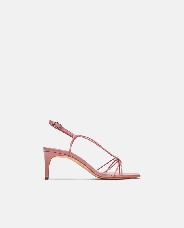 Zara Leather High Heeled Strappy Sandal