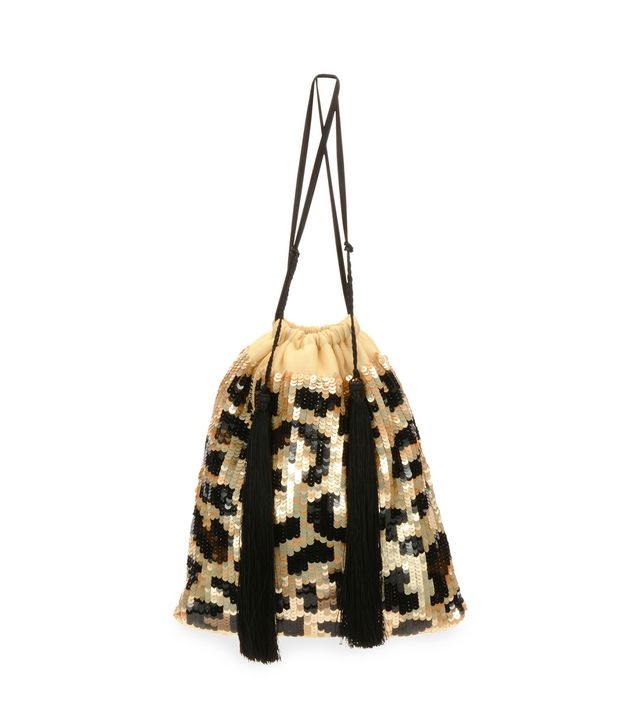 Full Sequin Leopard Pouch Bag