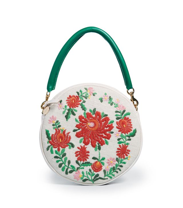 Embroidered Circle Clutch