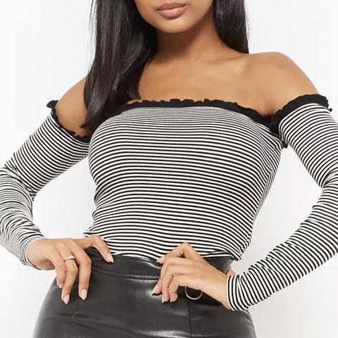 Striped Off-The-Shoulder Stripe Top