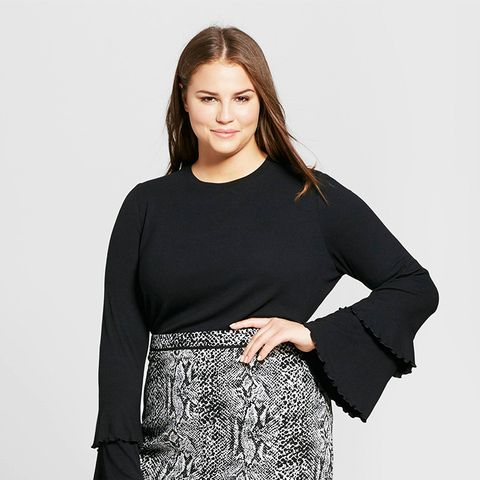 Ruffle Bell Sleeve Ribbed Top