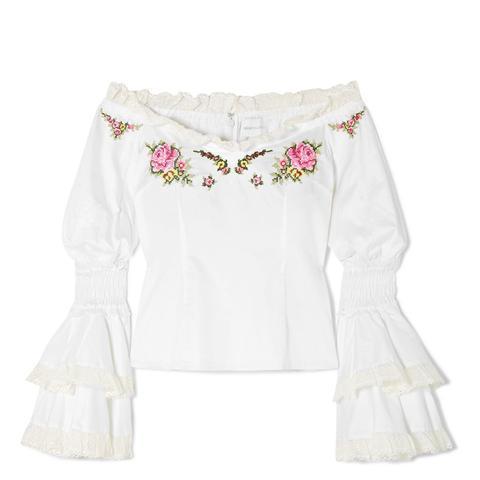Bon Voyage Off-the-Shoulder Embroidered Cotton Blouse