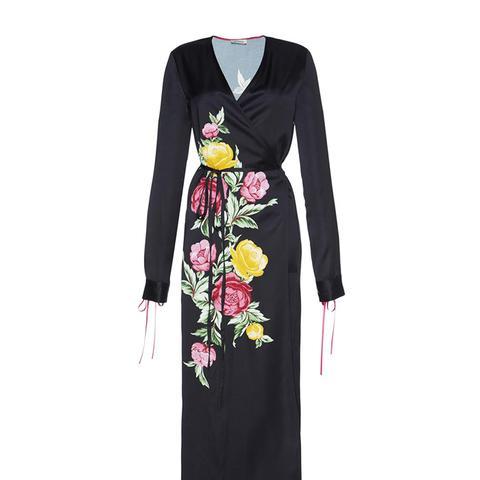 Grace Floral Satin Wrap Midi Dress
