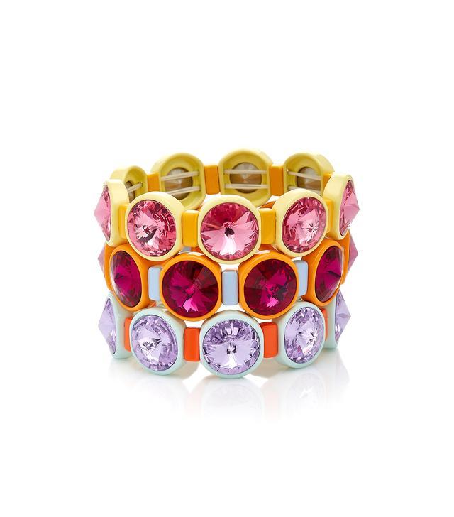 Set of Three Technicolor Crystal Bracelets
