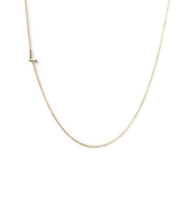 Maya Brenner Los Angeles 14k Gold Asymmetrical Letter Necklace