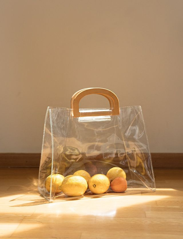 Pixie Market Wooden Handle Plastic Clear Tote Bag