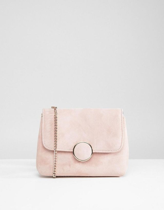 Occasion Suede Cross Body Bag With Chain Strap
