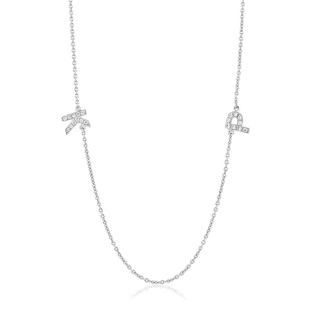 Aristides Fine Jewels Two Letter Diamond Monogram White Gold Necklace