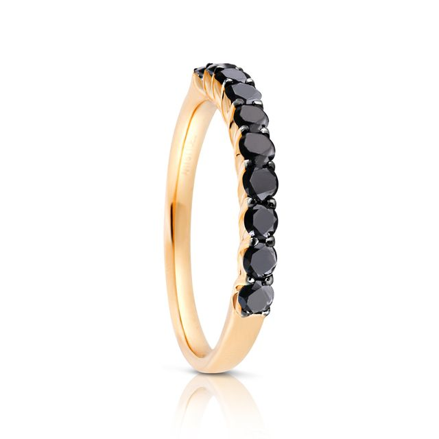 Aristides Fine Jewels Black Diamond Eternity Ring in Yellow Gold