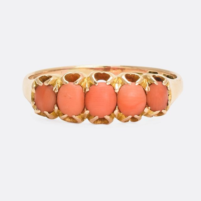 Vintage Victorian Coral 5-Stone Ring