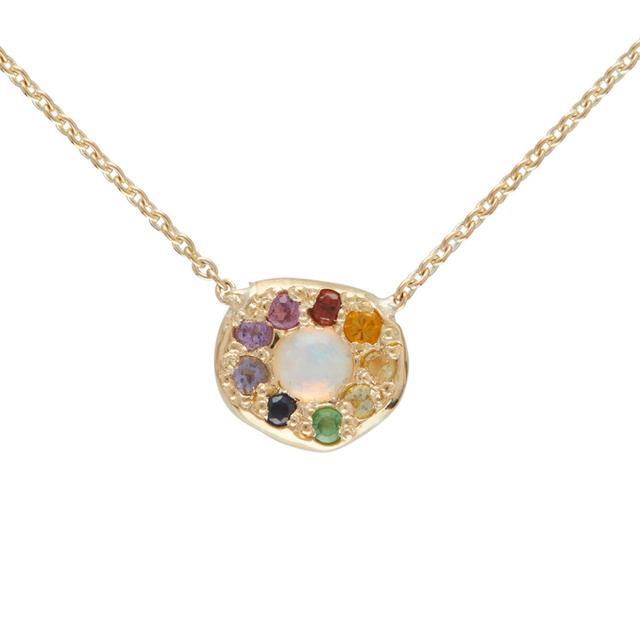 Elisa Soloman Opal Rainbow Disc Necklace