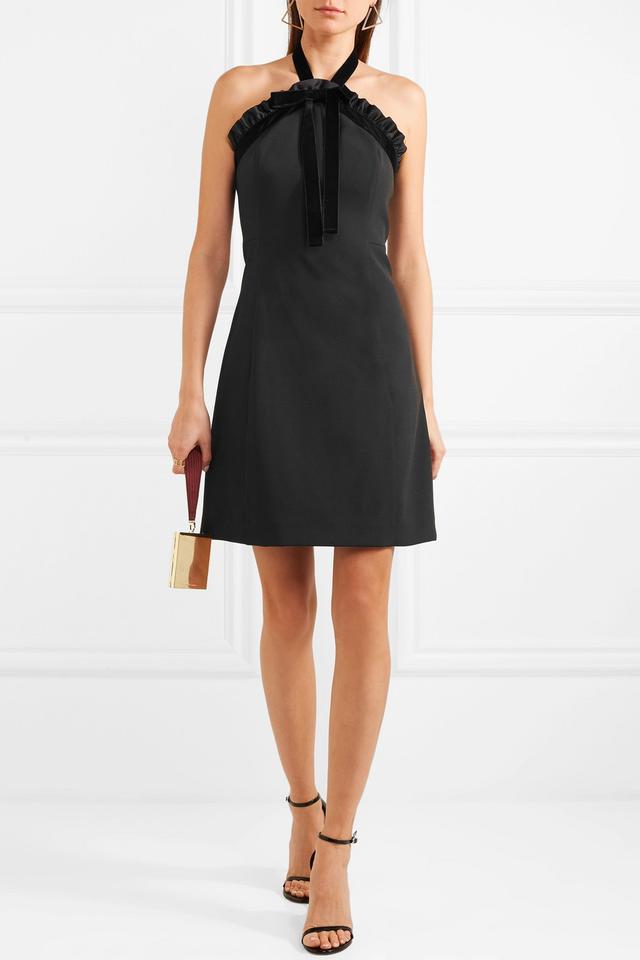 Ruffled Velvet-Trimmed Crepe Halterneck Mini Dress