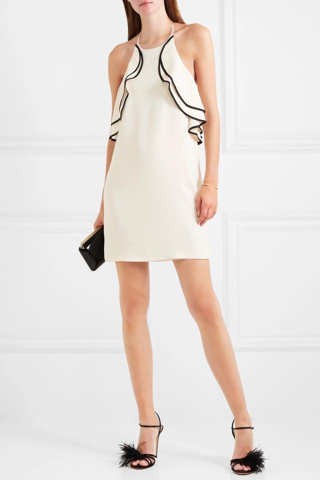 Ruffled Crepe Halterneck Mini Dress