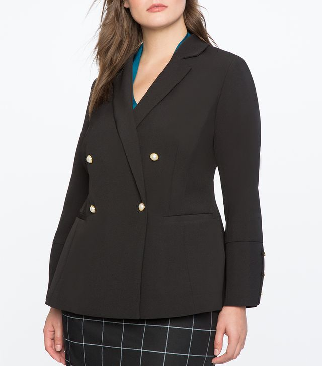 Eloquii Pearl Button Double Breasted Blazer