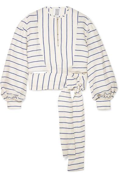 Striped Linen Wrap Top